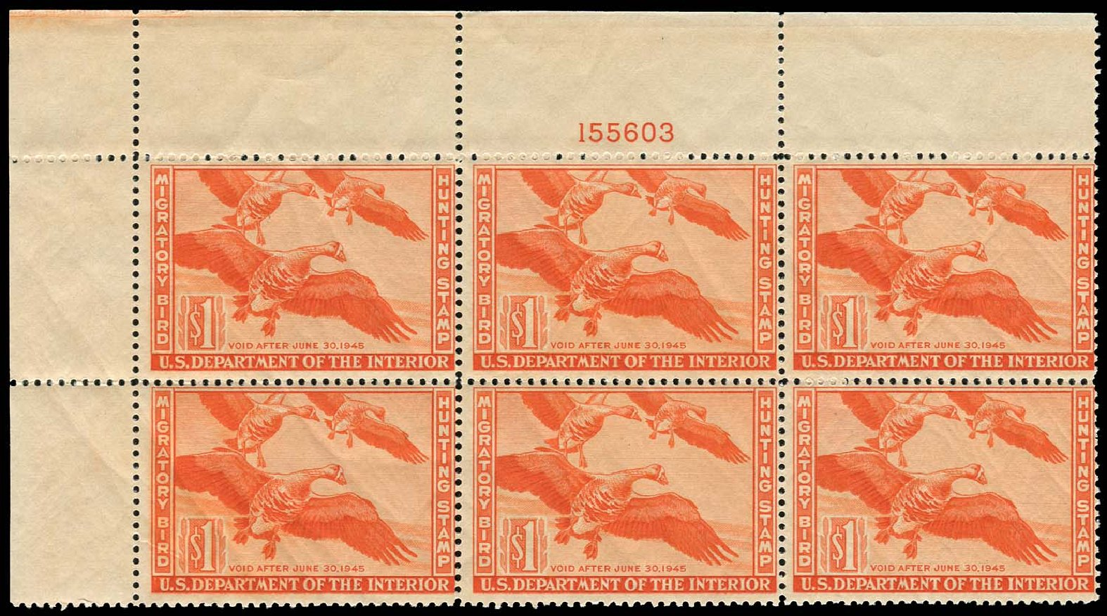 US Stamps Values Scott Cat. #RW11: 1944 US$1.00 Federal Duck Hunting. Regency-Superior, Nov 2014, Sale 108, Lot 1463