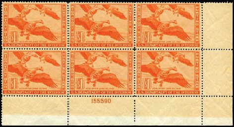 US Stamp Value Scott Cat. RW11: US$1.00 1944 Federal Duck Hunting. Harmer-Schau Auction Galleries, Jan 2013, Sale 96, Lot 766