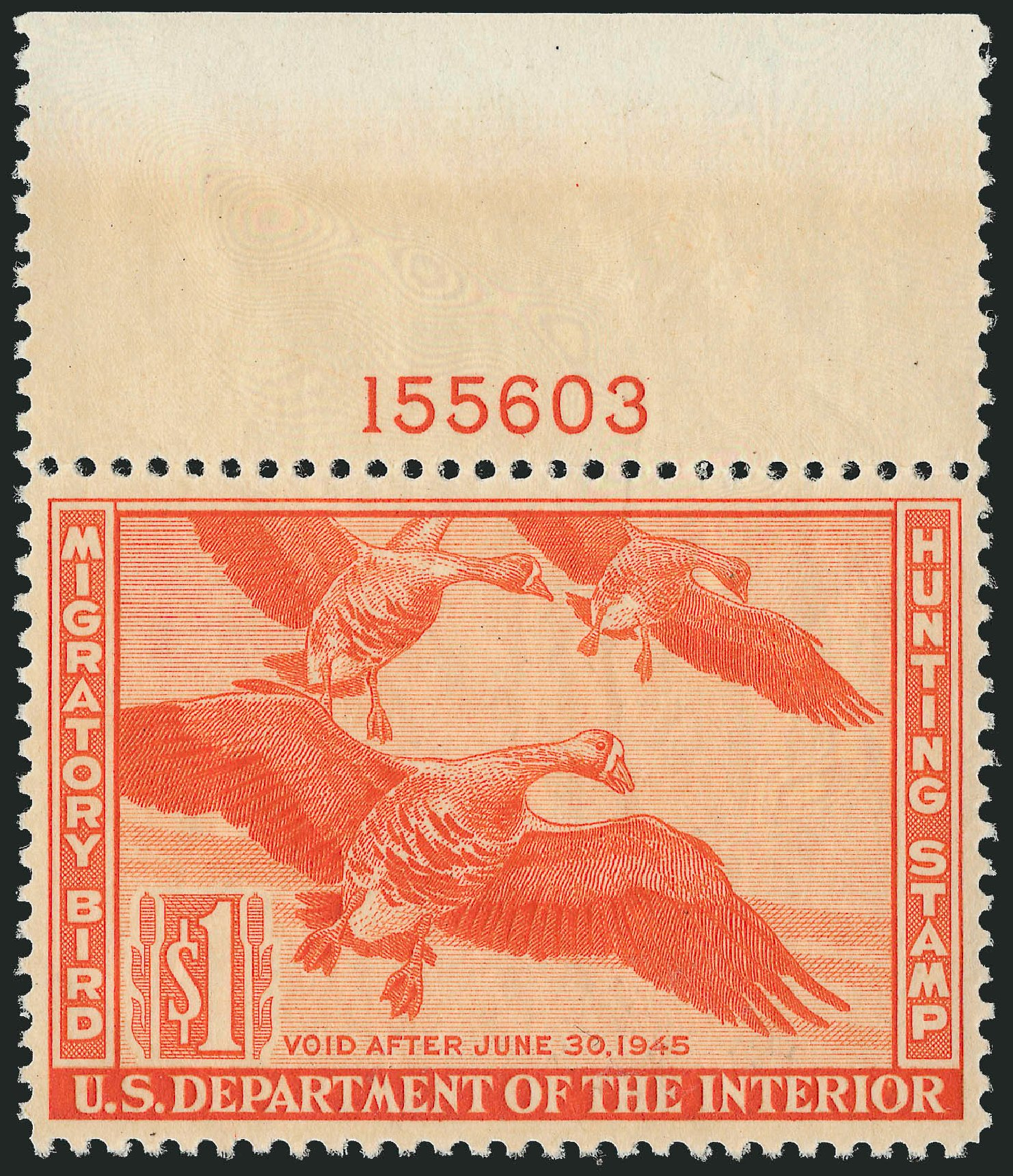 Values of US Stamps Scott RW11 - US$1.00 1944 Federal Duck Hunting. Robert Siegel Auction Galleries, Mar 2013, Sale 1040, Lot 2246