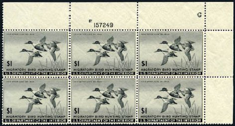 Value of US Stamps Scott # RW12 - 1945 US$1.00 Federal Duck Hunting. Harmer-Schau Auction Galleries, Aug 2011, Sale 90, Lot 2047