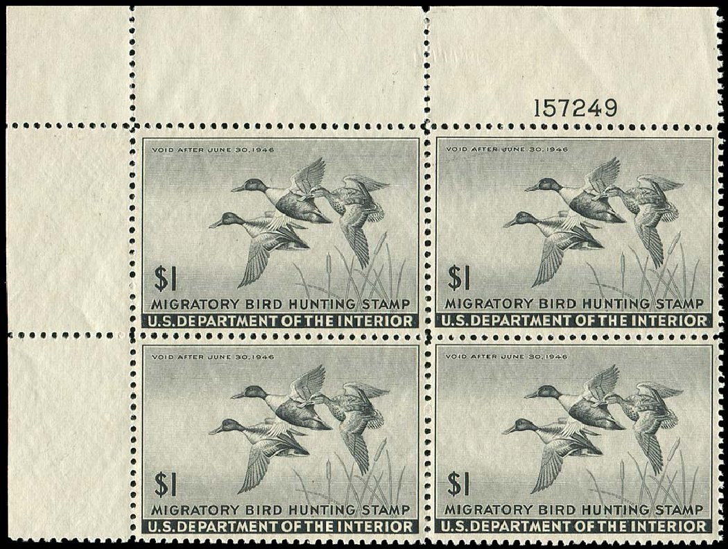 US Stamps Values Scott Catalog # RW12: 1945 US$1.00 Federal Duck Hunting. Regency-Superior, Nov 2014, Sale 108, Lot 1637