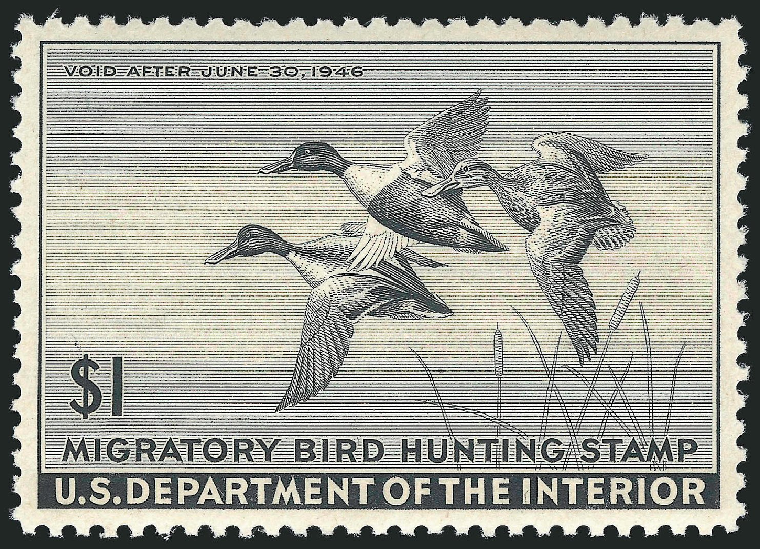 US Stamp Values Scott RW12: US$1.00 1945 Federal Duck Hunting. Robert Siegel Auction Galleries, Mar 2013, Sale 1040, Lot 2247