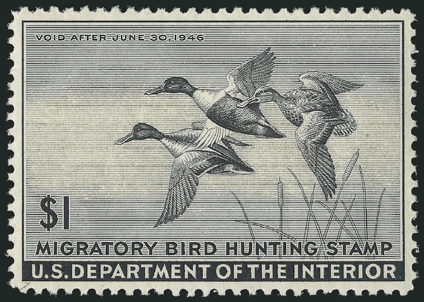 Costs of US Stamps Scott Catalogue # RW12: 1945 US$1.00 Federal Duck Hunting. Robert Siegel Auction Galleries, Mar 2013, Sale 1040, Lot 2248