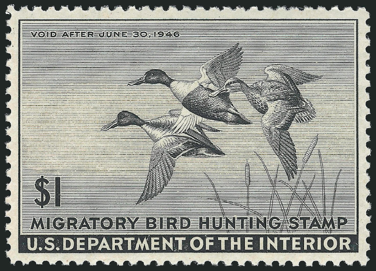 Price of US Stamp Scott Catalog RW12: 1945 US$1.00 Federal Duck Hunting. Robert Siegel Auction Galleries, Dec 2010, Sale 1000, Lot 1339