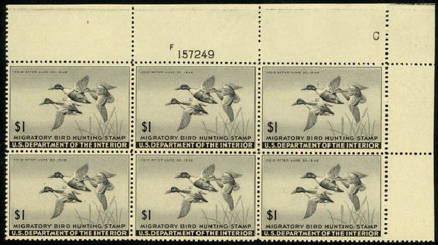 Value of US Stamp Scott Catalogue #RW12: US$1.00 1945 Federal Duck Hunting. Daniel Kelleher Auctions, May 2014, Sale 653, Lot 2500