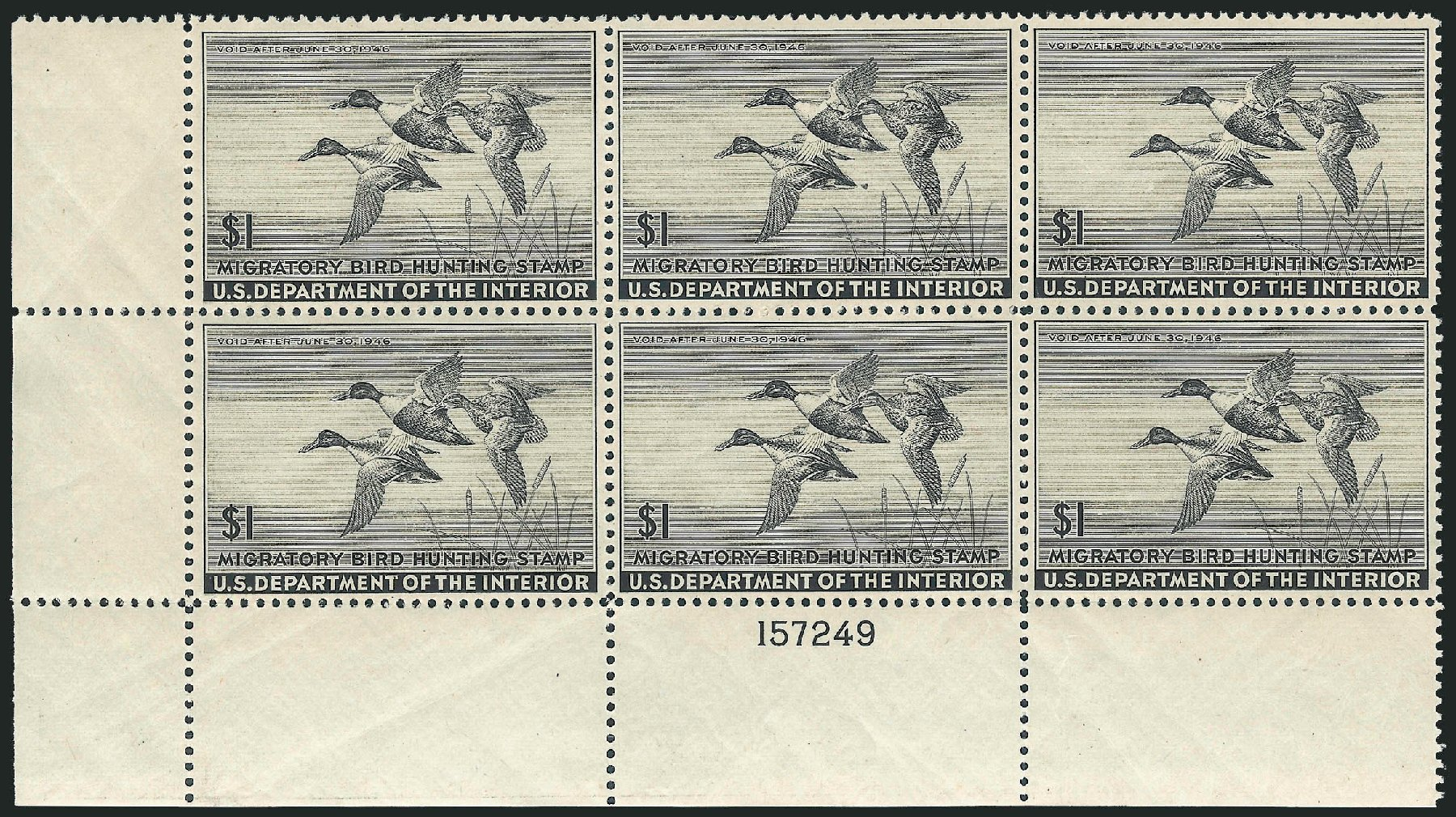 Prices of US Stamp Scott Cat. #RW12: 1945 US$1.00 Federal Duck Hunting. Robert Siegel Auction Galleries, Oct 2011, Sale 1014, Lot 2500