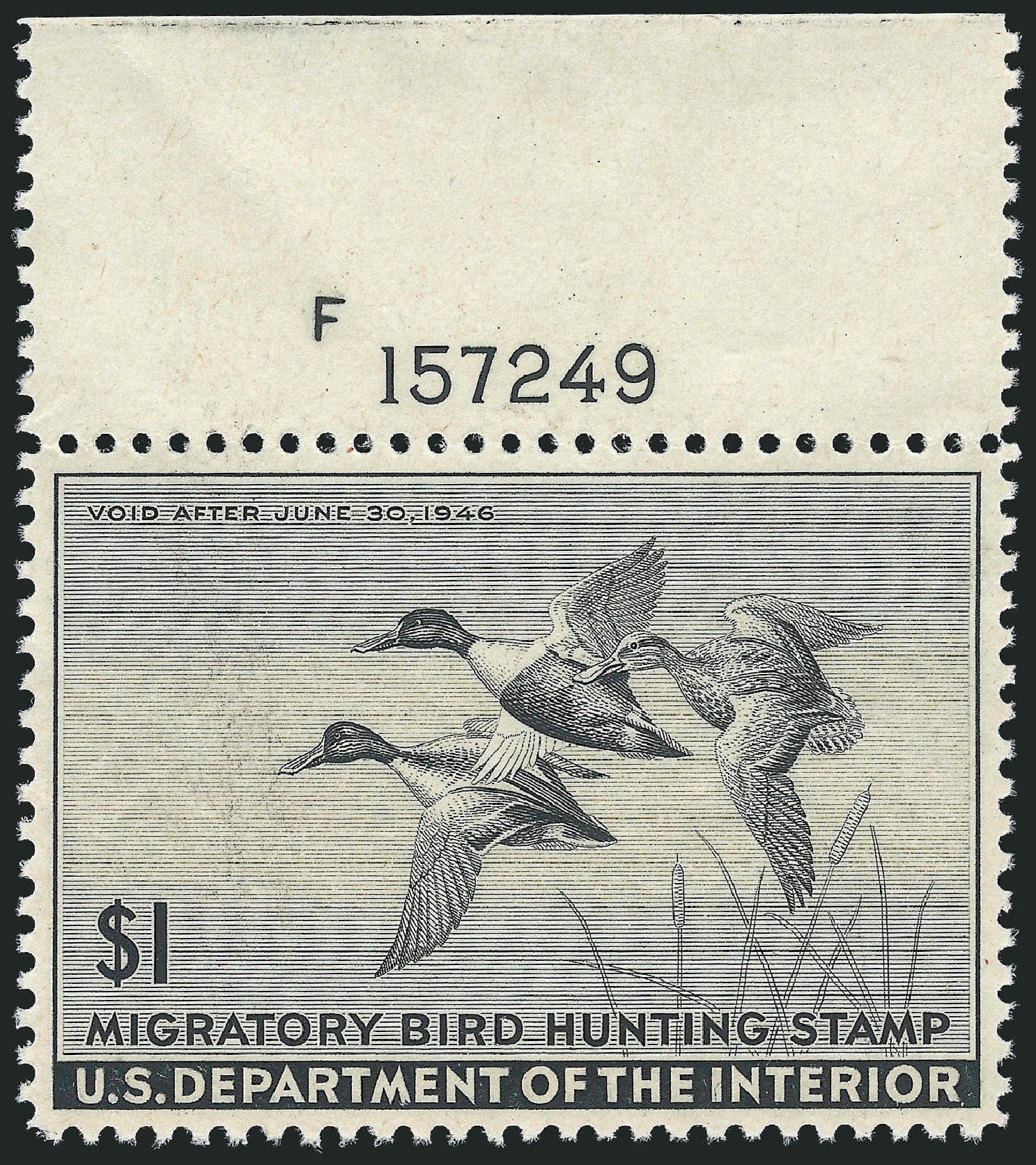 Costs of US Stamp Scott Catalogue # RW12: 1945 US$1.00 Federal Duck Hunting. Robert Siegel Auction Galleries, Oct 2010, Sale 997, Lot 6640