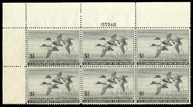 US Stamps Prices Scott Cat. #RW12: 1945 US$1.00 Federal Duck Hunting. Matthew Bennett International, Dec 2008, Sale 330, Lot 2051