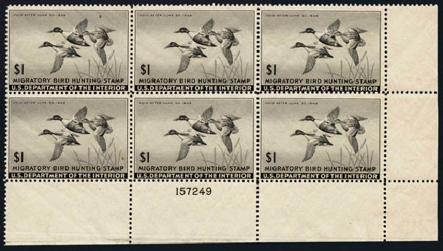 Prices of US Stamps Scott Catalogue # RW12: US$1.00 1945 Federal Duck Hunting. Harmer-Schau Auction Galleries, Oct 2013, Sale 99, Lot 311