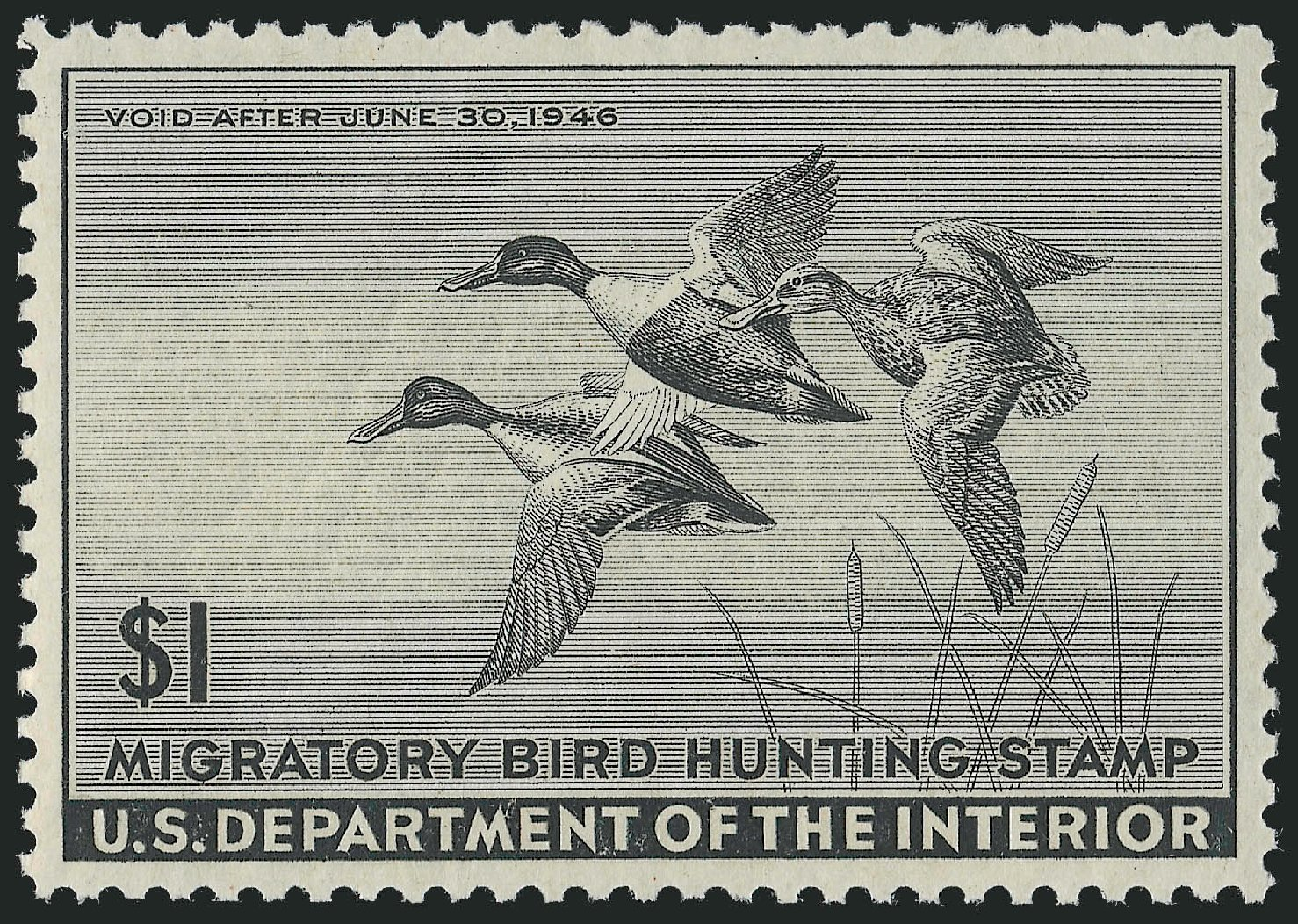 US Stamp Prices Scott Catalogue RW12 - 1945 US$1.00 Federal Duck Hunting. Robert Siegel Auction Galleries, Dec 2009, Sale 978, Lot 1194