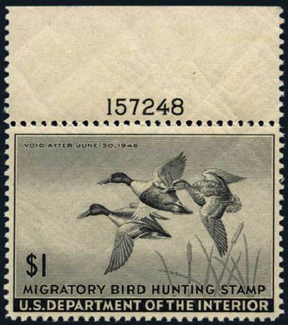 Prices of US Stamps Scott # RW12: US$1.00 1945 Federal Duck Hunting. Harmer-Schau Auction Galleries, May 2013, Sale 97, Lot 465