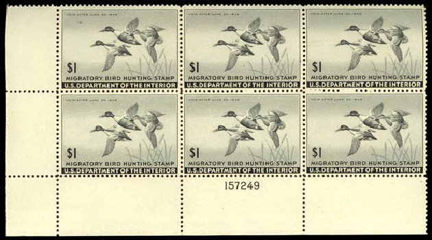 Cost of US Stamps Scott Catalog #RW12: US$1.00 1945 Federal Duck Hunting. Daniel Kelleher Auctions, May 2014, Sale 652, Lot 1005