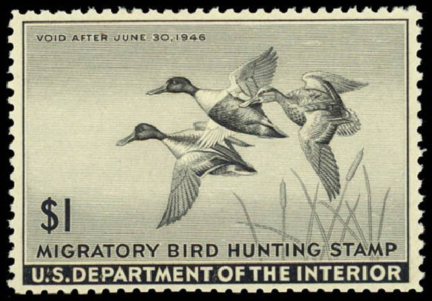 Values of US Stamp Scott #RW12: US$1.00 1945 Federal Duck Hunting. Daniel Kelleher Auctions, May 2014, Sale 653, Lot 2352