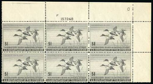 US Stamps Prices Scott Cat. # RW12: 1945 US$1.00 Federal Duck Hunting. Spink Shreves Galleries, Jul 2015, Sale 151, Lot 432