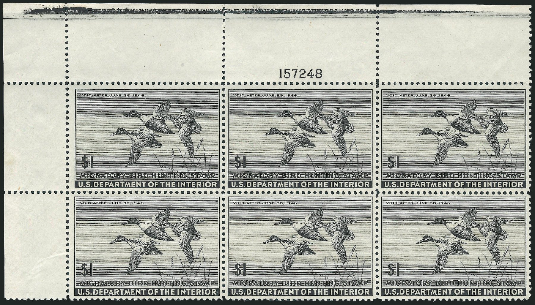 Cost of US Stamp Scott RW12: US$1.00 1945 Federal Duck Hunting. Robert Siegel Auction Galleries, Mar 2011, Sale 1007, Lot 3173