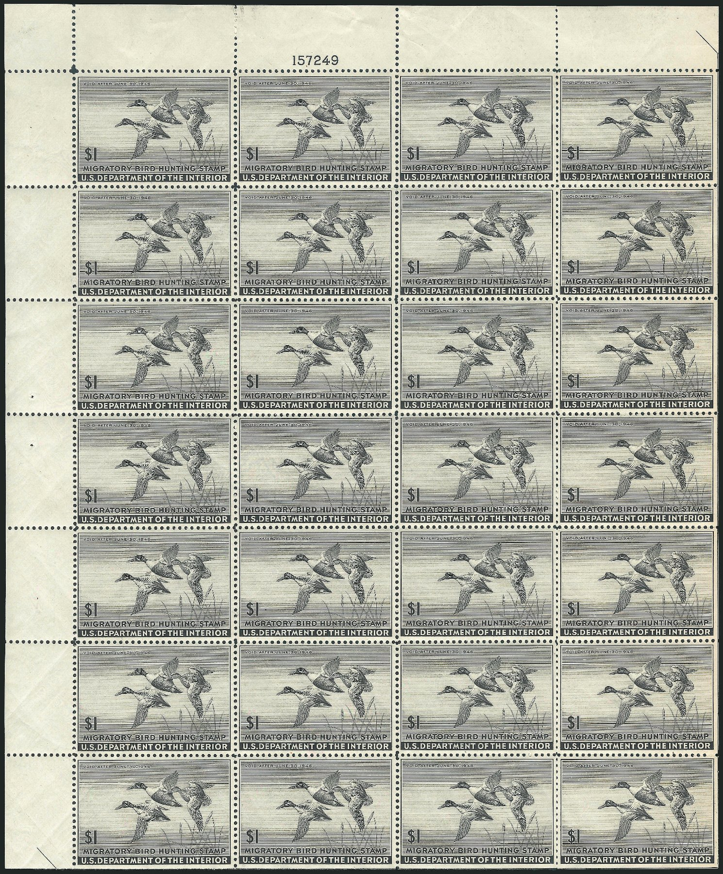 Value of US Stamps Scott # RW12: 1945 US$1.00 Federal Duck Hunting. Robert Siegel Auction Galleries, Apr 2014, Sale 1068, Lot 453