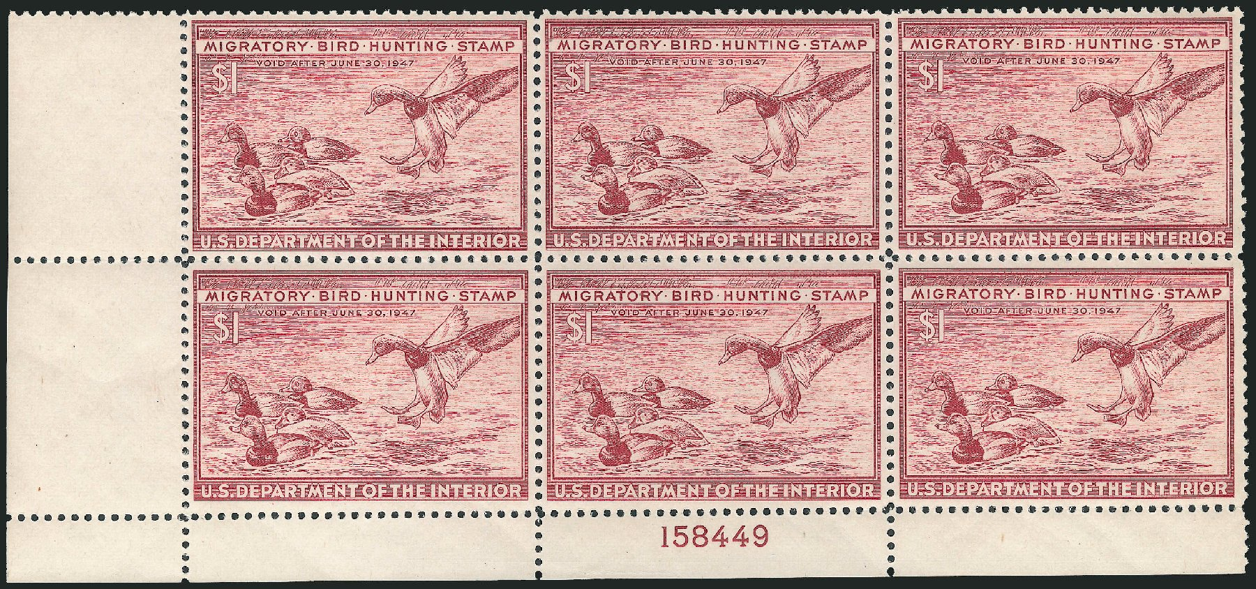 Price of US Stamps Scott Cat. #RW13 - 1946 US$1.00 Federal Duck Hunting. Robert Siegel Auction Galleries, Nov 2013, Sale 1061, Lot 4518