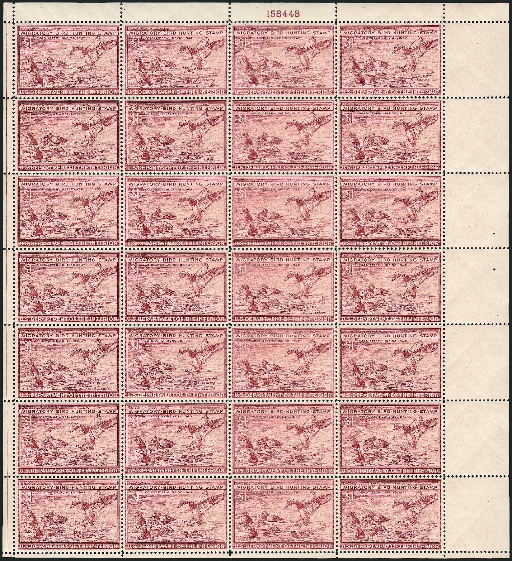 Value of US Stamp Scott Catalog #RW13 - 1946 US$1.00 Federal Duck Hunting. Robert Siegel Auction Galleries, Feb 2015, Sale 1092, Lot 1540