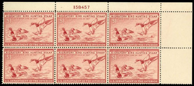 US Stamps Values Scott Catalog #RW13 - 1946 US$1.00 Federal Duck Hunting. Daniel Kelleher Auctions, May 2014, Sale 653, Lot 2501