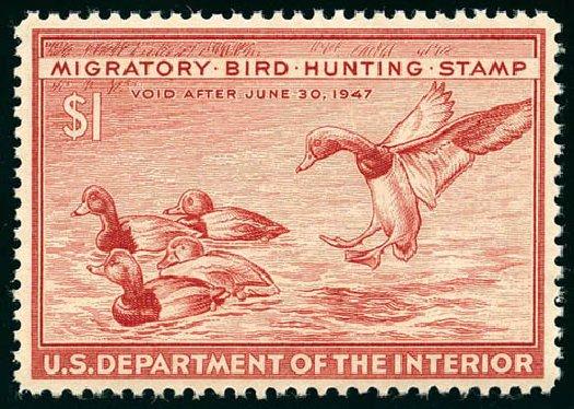 US Stamps Prices Scott Cat. RW13: US$1.00 1946 Federal Duck Hunting. Matthew Bennett International, Jun 2008, Sale 328, Lot 1445