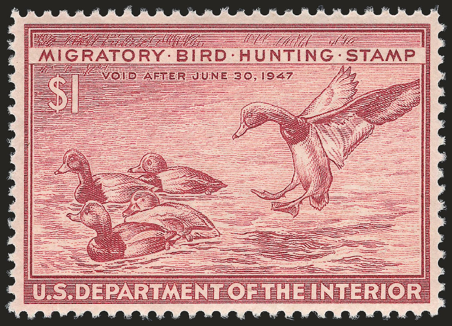 Cost of US Stamps Scott #RW13 - 1946 US$1.00 Federal Duck Hunting. Robert Siegel Auction Galleries, Apr 2010, Sale 984, Lot 1232