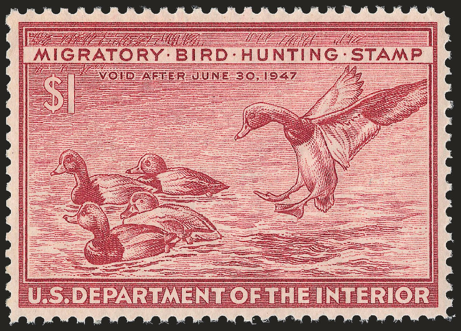 US Stamps Prices Scott Catalogue RW13 - US$1.00 1946 Federal Duck Hunting. Robert Siegel Auction Galleries, Apr 2010, Sale 984, Lot 1233