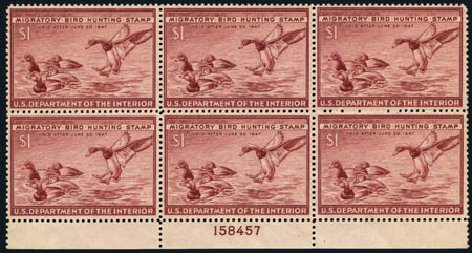 Values of US Stamps Scott Catalogue # RW13 - 1946 US$1.00 Federal Duck Hunting. Harmer-Schau Auction Galleries, May 2013, Sale 97, Lot 466
