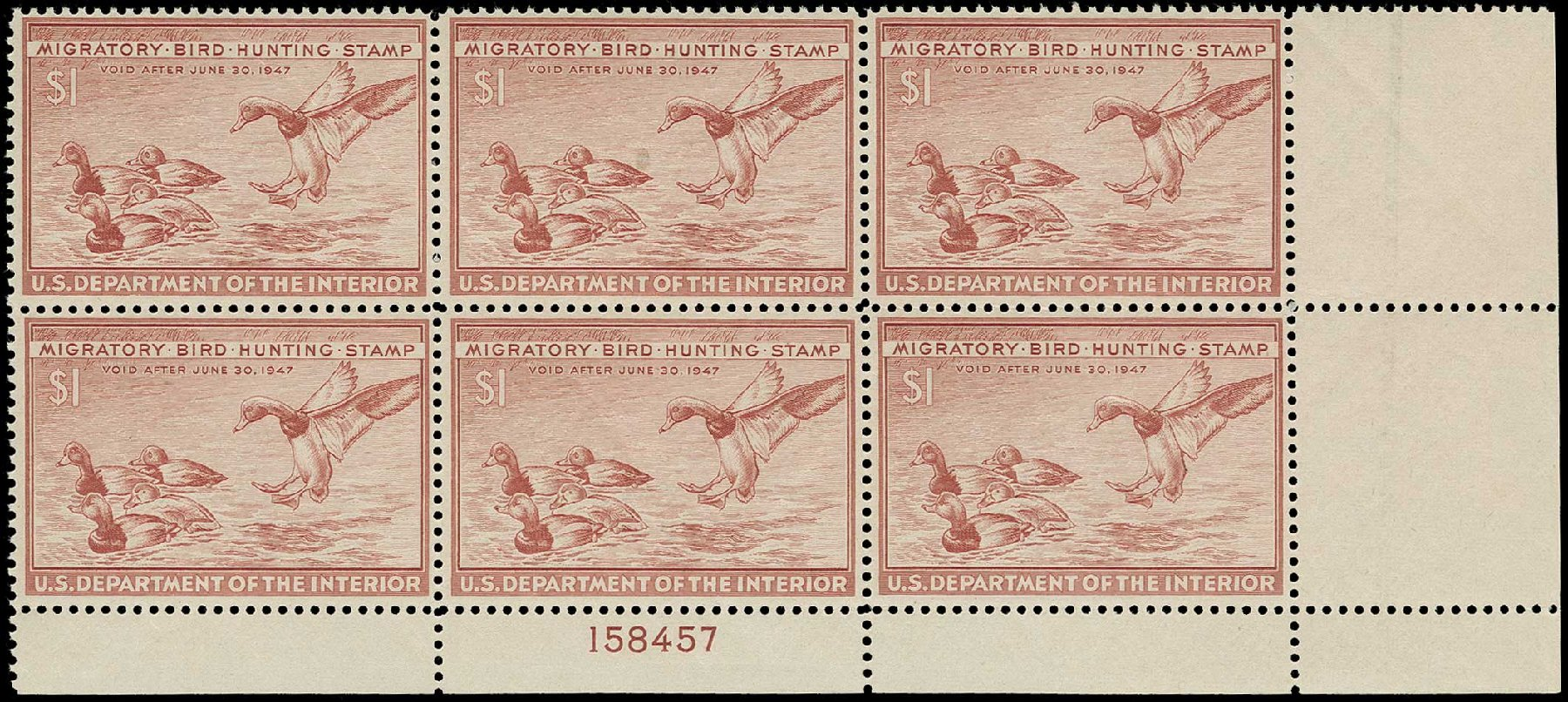 US Stamp Prices Scott Cat. #RW13 - US$1.00 1946 Federal Duck Hunting. H.R. Harmer, Jun 2015, Sale 3007, Lot 3596
