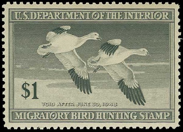 Costs of US Stamps Scott Catalog # RW14: 1947 US$1.00 Federal Duck Hunting. H.R. Harmer, Jun 2015, Sale 3007, Lot 3597