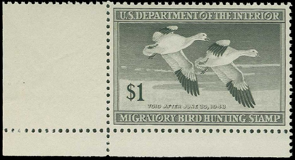 Prices of US Stamp Scott RW14: 1947 US$1.00 Federal Duck Hunting. H.R. Harmer, Jun 2015, Sale 3007, Lot 3598