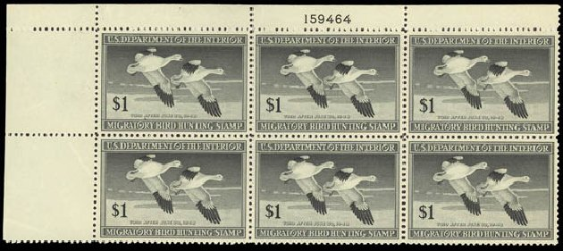 US Stamp Values Scott Catalog # RW14: 1947 US$1.00 Federal Duck Hunting. Daniel Kelleher Auctions, Oct 2011, Sale 626, Lot 688