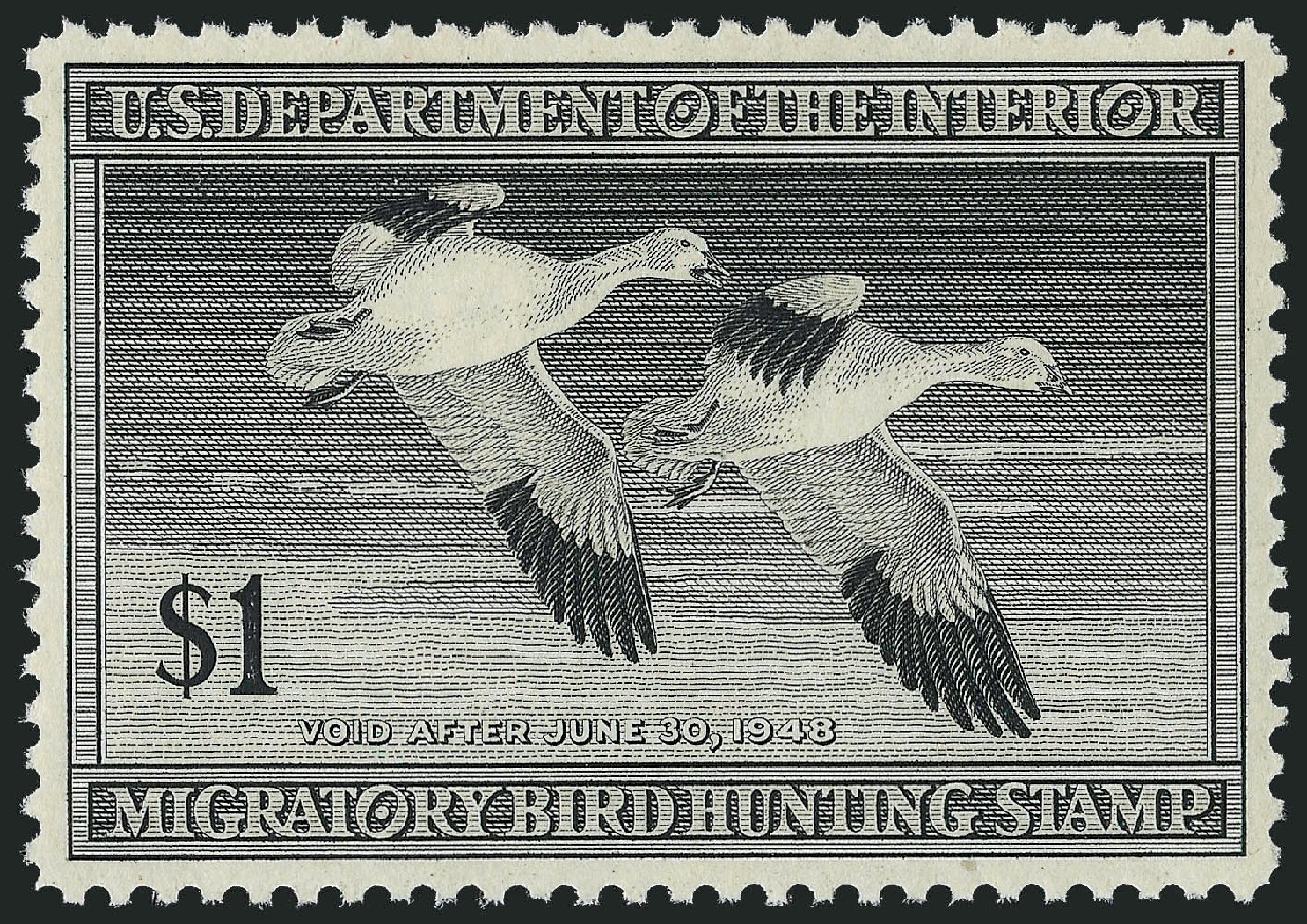 Prices of US Stamp Scott Catalog RW14: 1947 US$1.00 Federal Duck Hunting. Robert Siegel Auction Galleries, Nov 2013, Sale 1061, Lot 4519