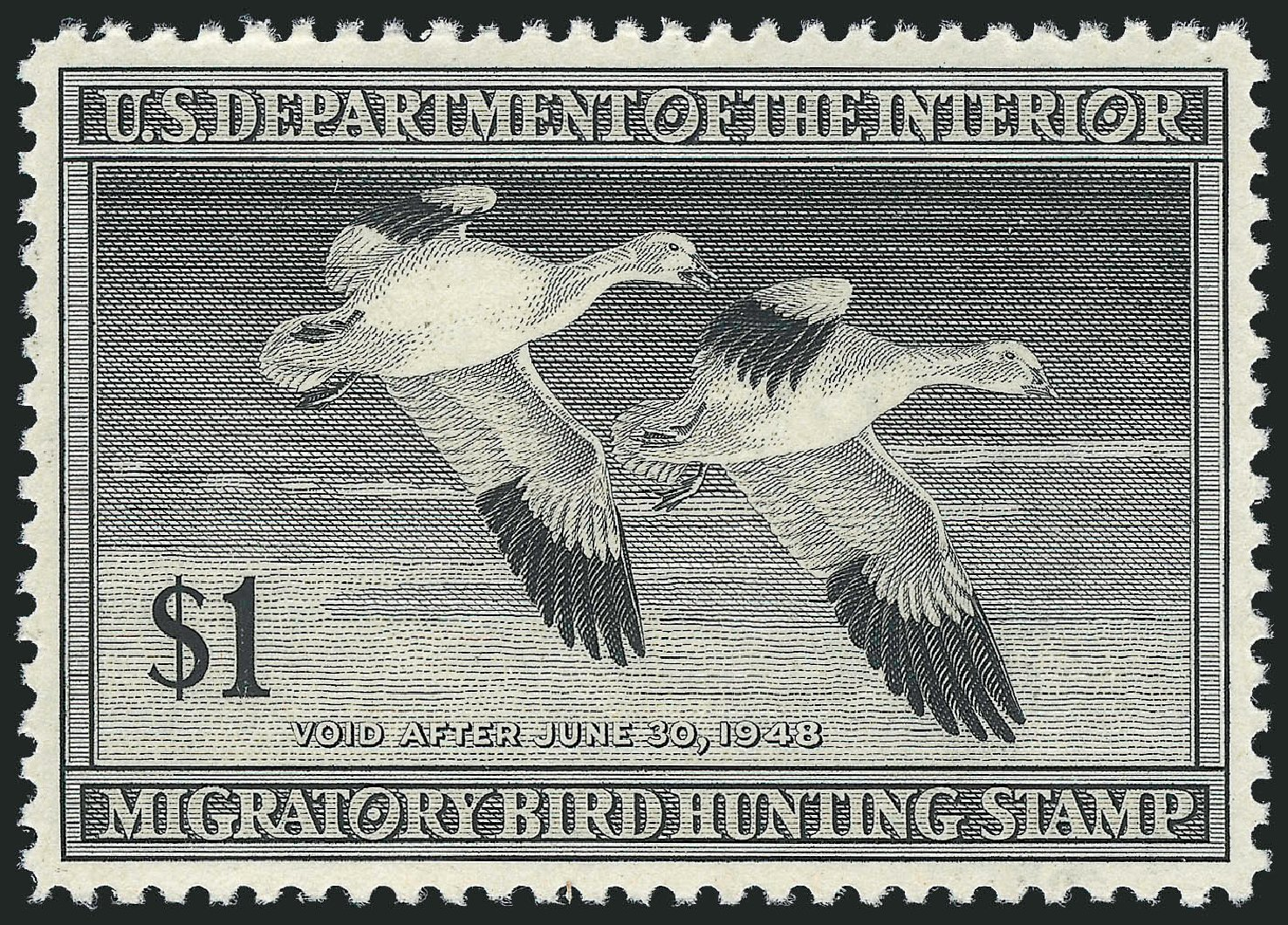 US Stamps Price Scott Cat. #RW14 - US$1.00 1947 Federal Duck Hunting. Robert Siegel Auction Galleries, Dec 2010, Sale 1000, Lot 1340