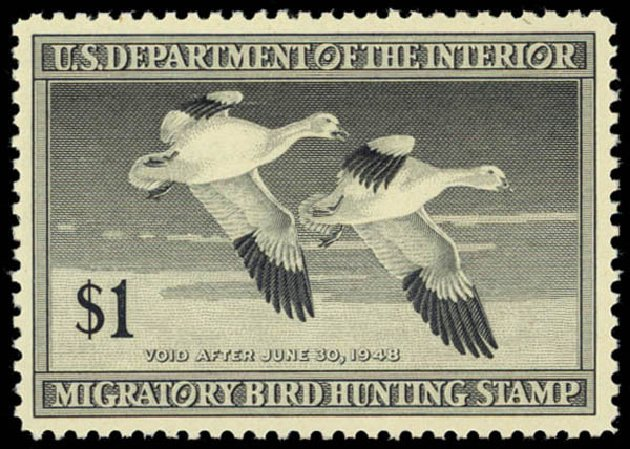 Prices of US Stamps Scott Catalogue # RW14: 1947 US$1.00 Federal Duck Hunting. Daniel Kelleher Auctions, May 2014, Sale 653, Lot 2354