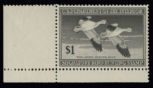 Price of US Stamps Scott Catalogue # RW14: US$1.00 1947 Federal Duck Hunting. Spink Shreves Galleries, Aug 2013, Sale 144, Lot 444