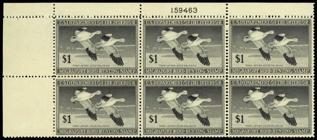 US Stamp Values Scott Cat. #RW14: US$1.00 1947 Federal Duck Hunting. Daniel Kelleher Auctions, May 2014, Sale 653, Lot 2502