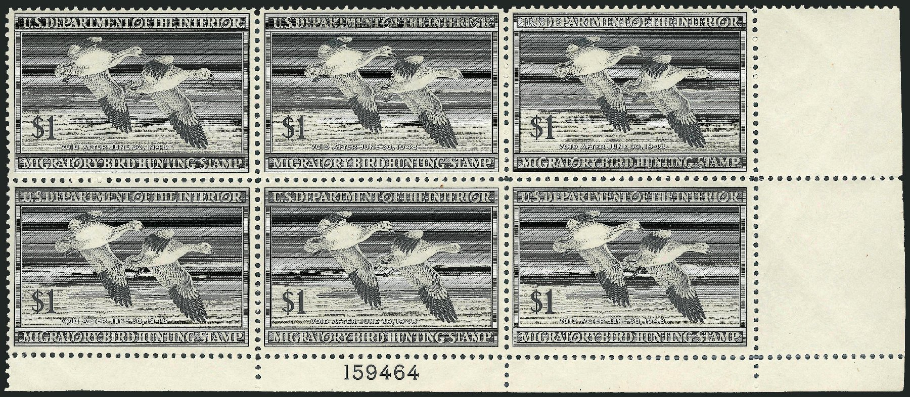US Stamp Value Scott Cat. RW14: US$1.00 1947 Federal Duck Hunting. Robert Siegel Auction Galleries, Mar 2011, Sale 1007, Lot 3176