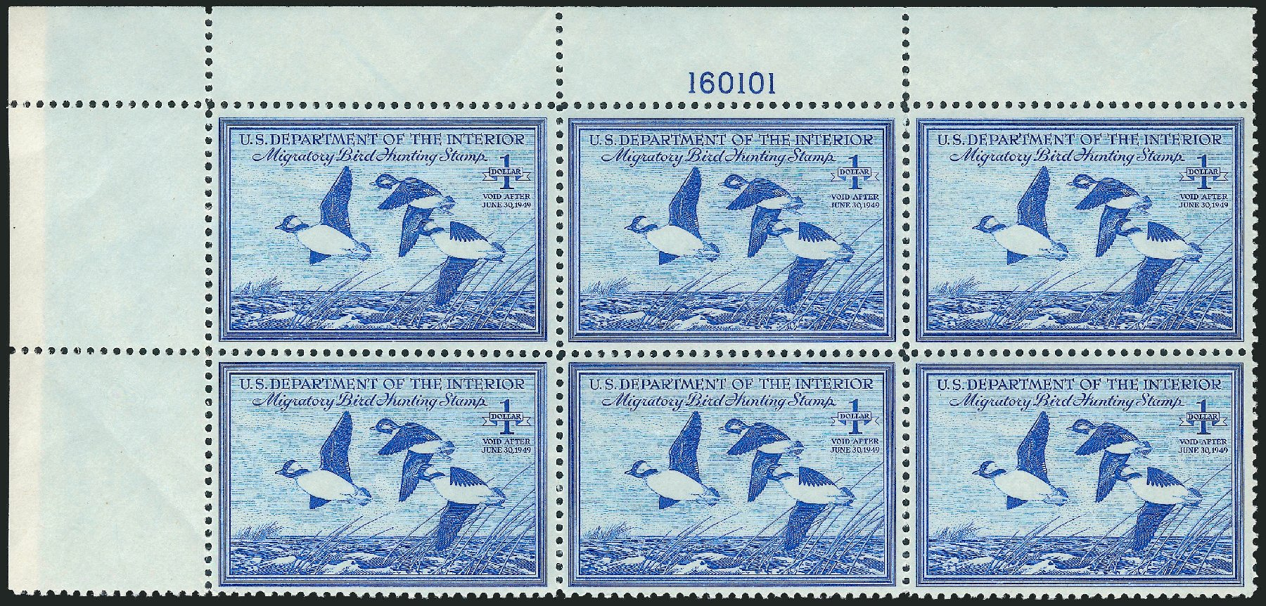 Values of US Stamp Scott Catalog # RW15 - US$1.00 1948 Federal Duck Hunting. Robert Siegel Auction Galleries, Mar 2011, Sale 1007, Lot 3177