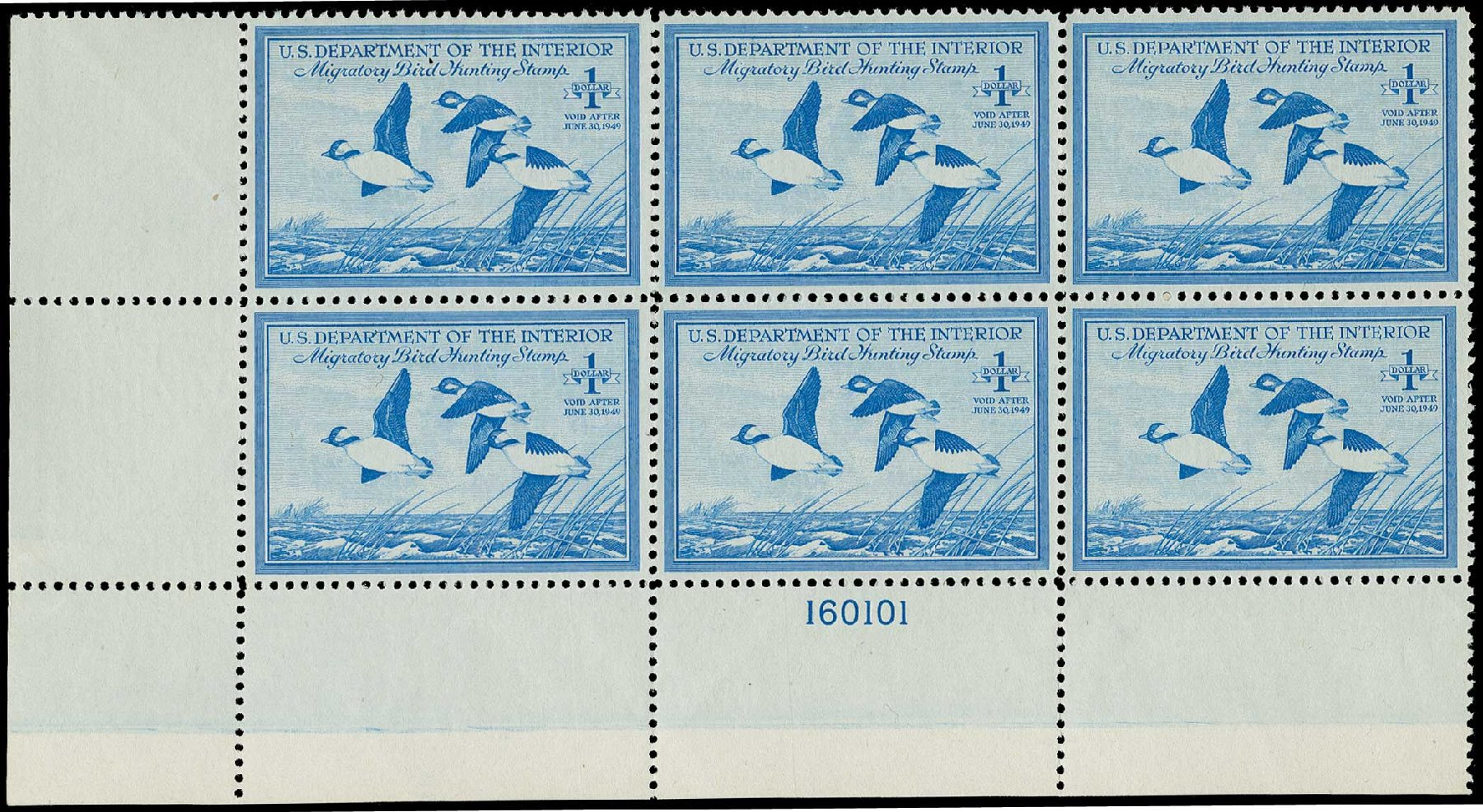 US Stamps Prices Scott Cat. RW15: US$1.00 1948 Federal Duck Hunting. H.R. Harmer, Jun 2015, Sale 3007, Lot 3599