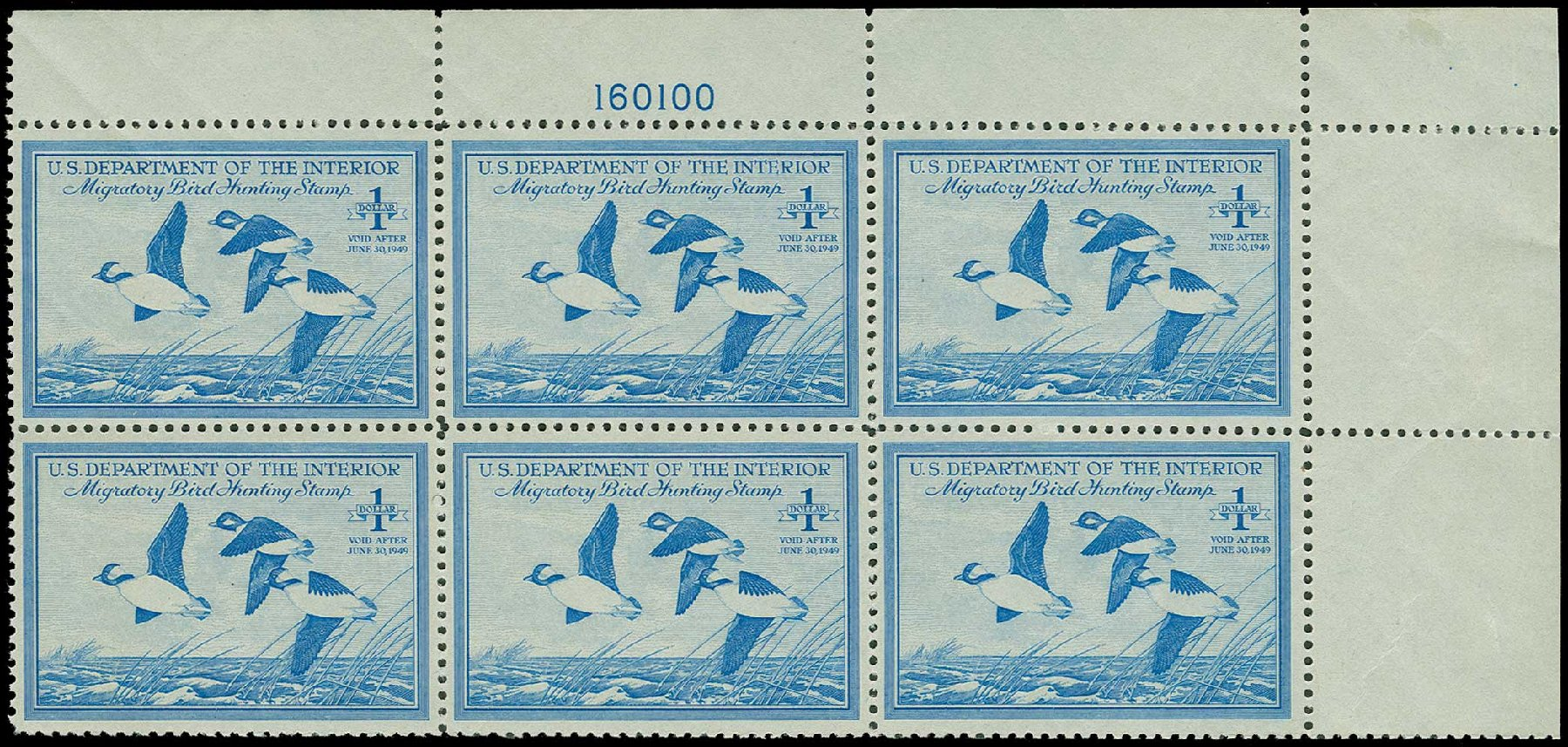 Costs of US Stamps Scott Cat. #RW15: 1948 US$1.00 Federal Duck Hunting. H.R. Harmer, Jun 2015, Sale 3007, Lot 3600