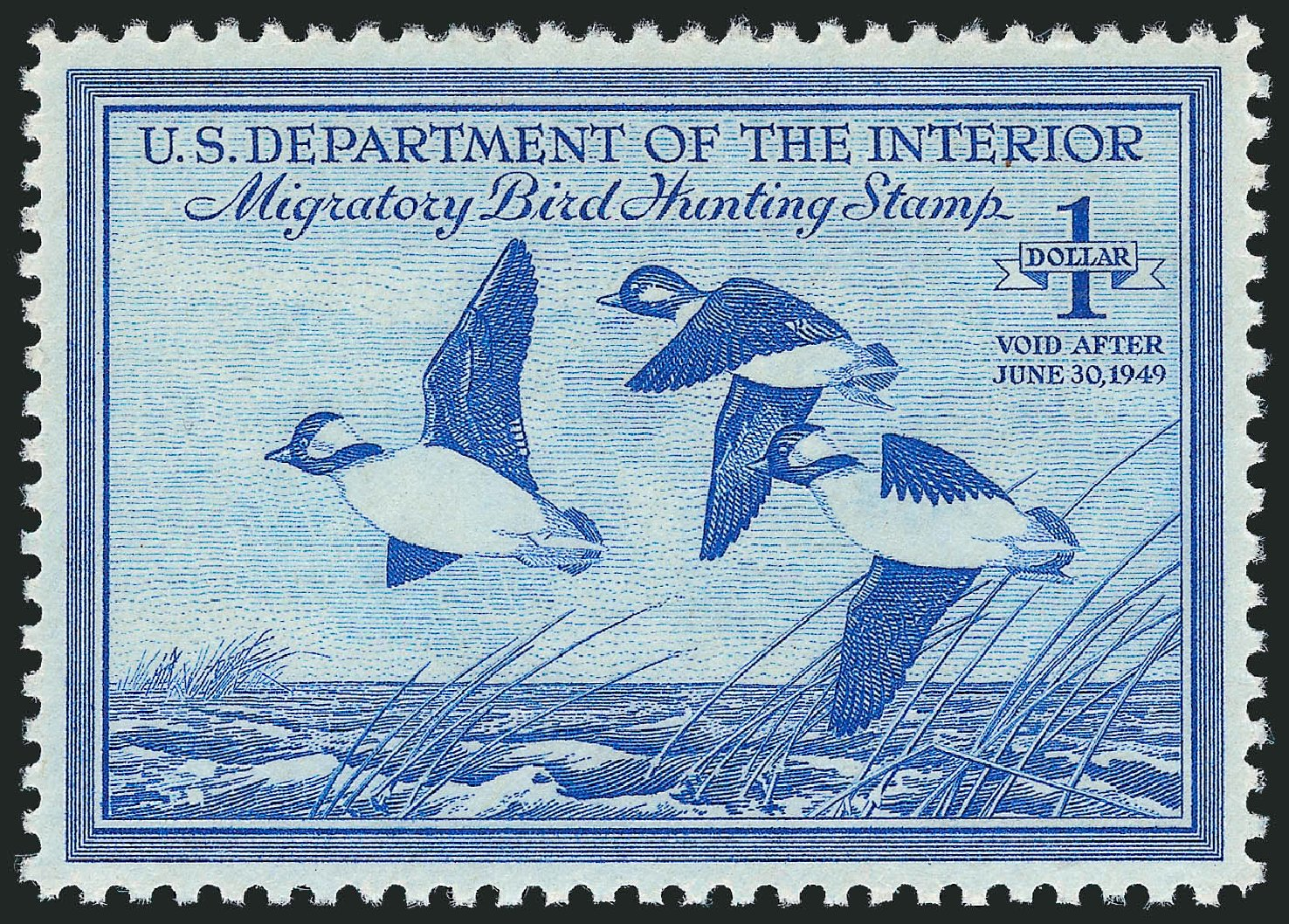 Values of US Stamps Scott Cat. #RW15 - 1948 US$1.00 Federal Duck Hunting. Robert Siegel Auction Galleries, Dec 2010, Sale 1000, Lot 1341