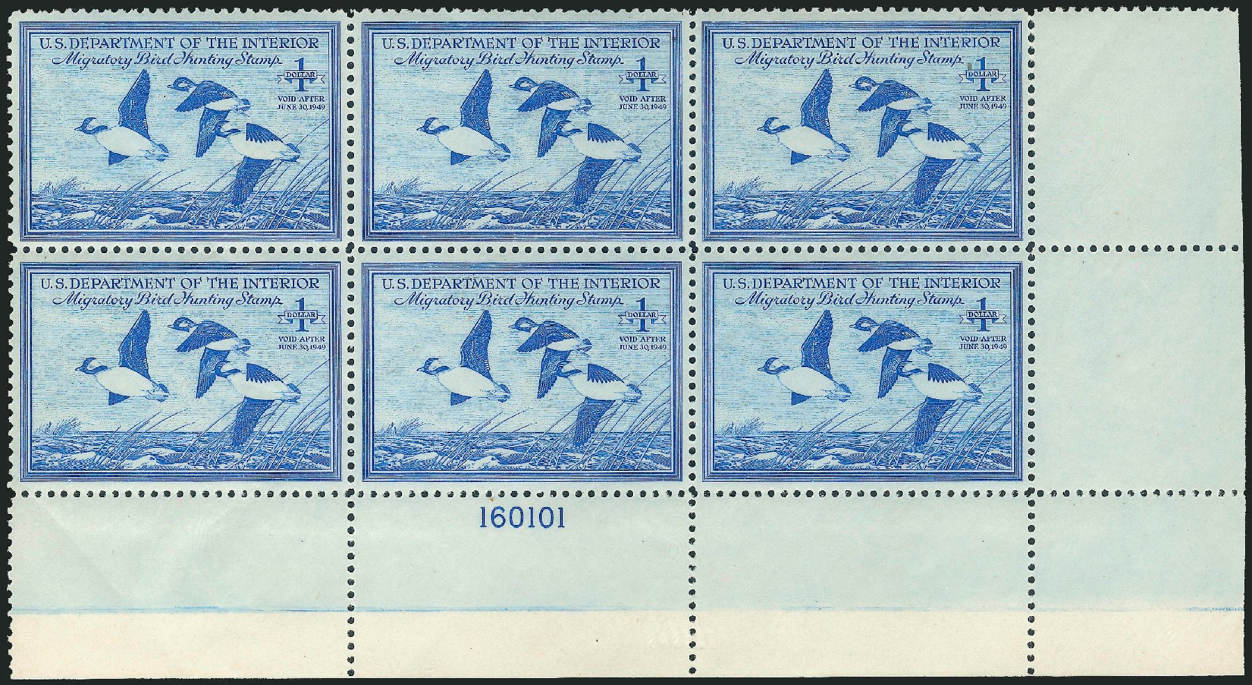 US Stamp Values Scott Catalogue # RW15 - 1948 US$1.00 Federal Duck Hunting. Robert Siegel Auction Galleries, Nov 2013, Sale 1061, Lot 4521