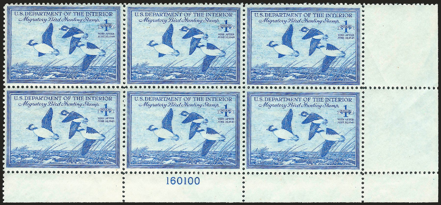 US Stamps Values Scott Cat. # RW15 - 1948 US$1.00 Federal Duck Hunting. Robert Siegel Auction Galleries, Apr 2010, Sale 984, Lot 1234