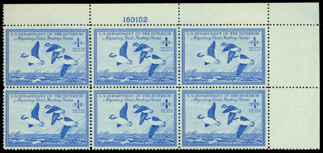 US Stamps Prices Scott #RW15 - 1948 US$1.00 Federal Duck Hunting. Daniel Kelleher Auctions, May 2014, Sale 653, Lot 2503