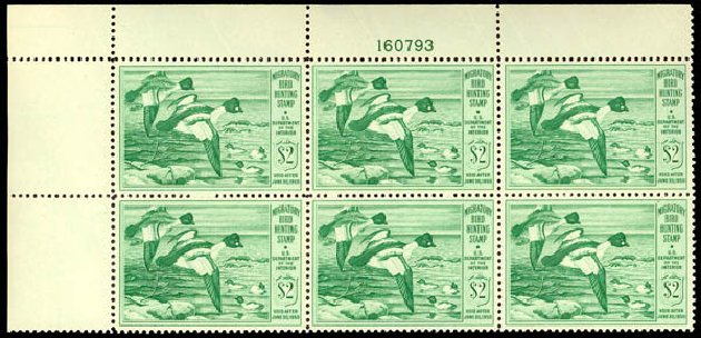 Prices of US Stamp Scott Cat. RW16 - 1949 US$2.00 Federal Duck Hunting. Daniel Kelleher Auctions, Dec 2013, Sale 640, Lot 799