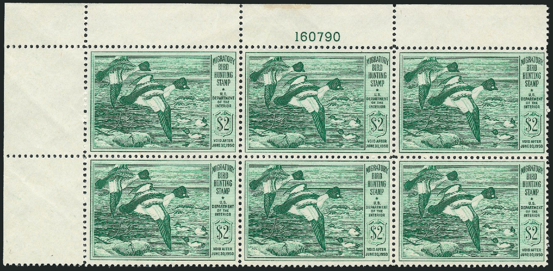 US Stamps Values Scott Catalogue RW16: 1949 US$2.00 Federal Duck Hunting. Robert Siegel Auction Galleries, Mar 2011, Sale 1007, Lot 3179