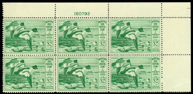 US Stamp Value Scott Catalog # RW16 - 1949 US$2.00 Federal Duck Hunting. Daniel Kelleher Auctions, May 2014, Sale 653, Lot 2504