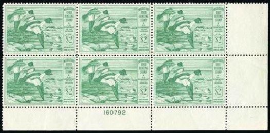 Values of US Stamps Scott Catalog # RW16 - 1949 US$2.00 Federal Duck Hunting. Spink Shreves Galleries, Jul 2015, Sale 151, Lot 435