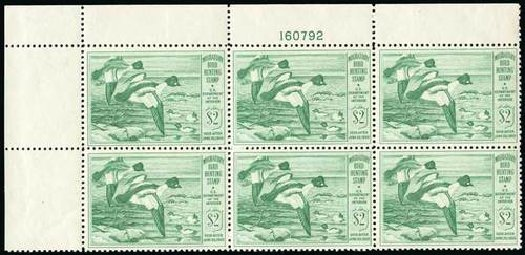 US Stamp Values Scott Catalogue # RW16: US$2.00 1949 Federal Duck Hunting. Spink Shreves Galleries, Jul 2015, Sale 151, Lot 436