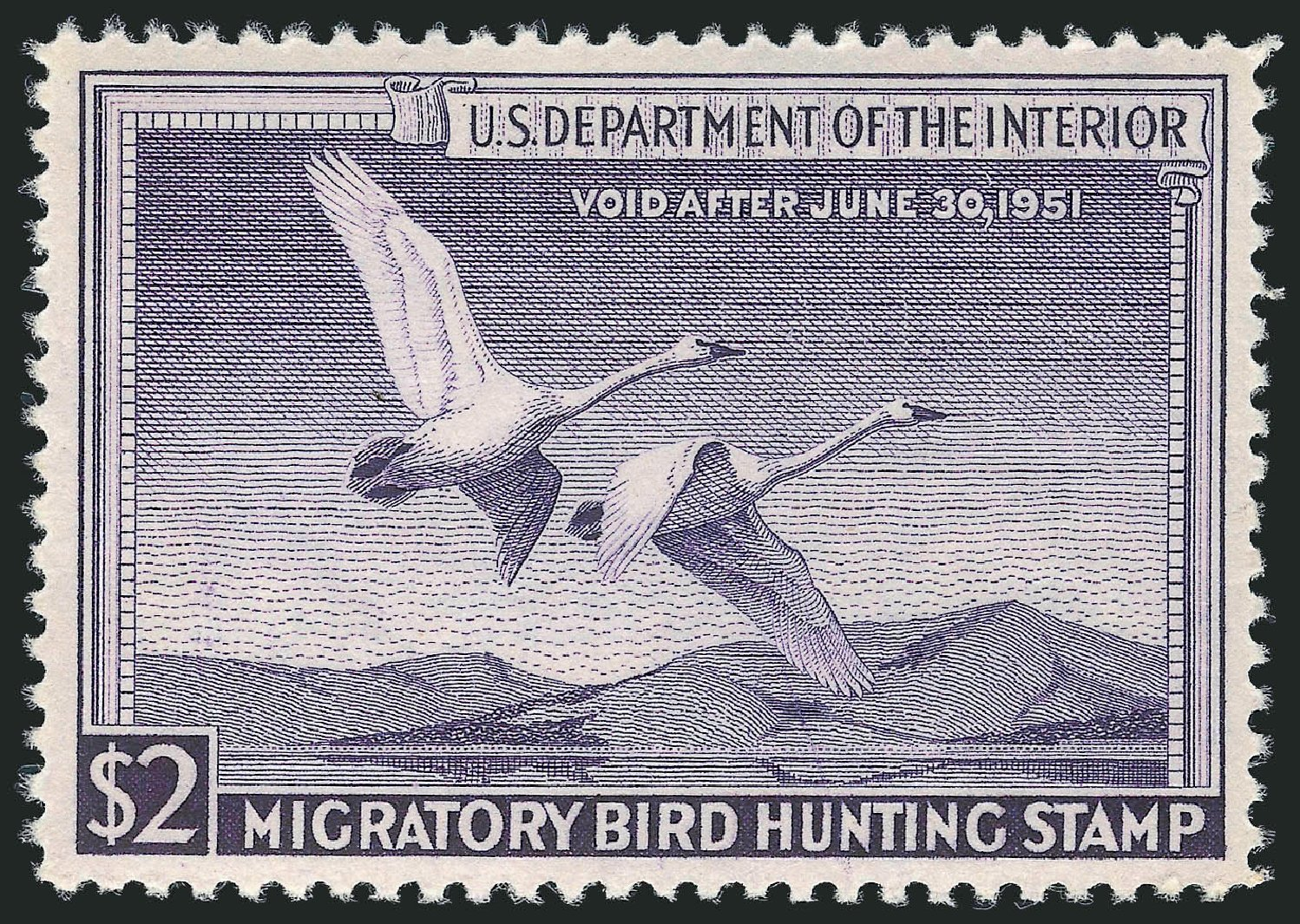 US Stamp Value Scott Catalogue # RW17: US$2.00 1950 Federal Duck Hunting. Robert Siegel Auction Galleries, May 2013, Sale 1044, Lot 343